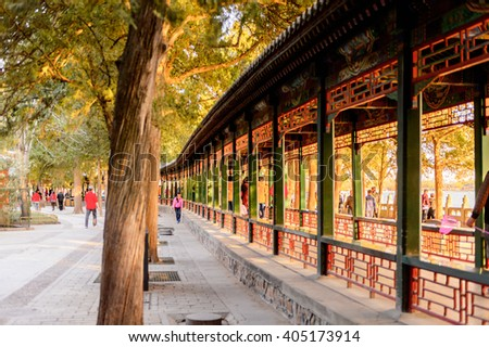 BEIJING, CHINA - MAR 27, 2016: Long Corridor at the Summer Palace complex, an Imperial Garden in Beijing. UNESCO World Heritage.