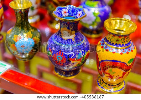 BEIJING, CHINA - MAR 25, 2016: Vases at the Chinese Traditional Souvenir store in Beijing, China. Most of the Chinese sovenirs are