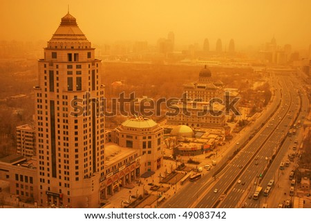 BEIJING, CHINA - MARCH 20: A serious sandstorm hits Beijing March 20, 2010 in Beijing, China. - stock photo