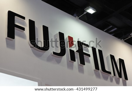 BEIJING, CHINA - MARCH 26, 2016: Fujifilm sign; Fujifilm is a Japanese multinational photography and imaging company founded in 1934.