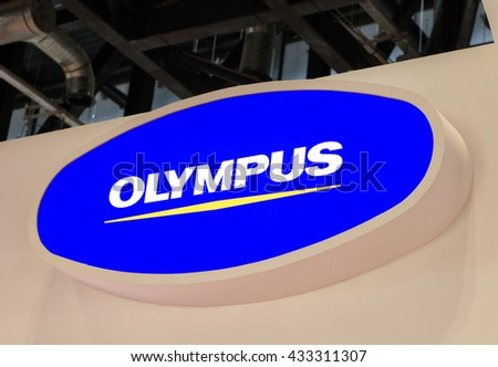 BEIJING, CHINA - MARCH 26, 2016: Olympus sign; Olympus is a Corporation established in 1919 which business lines are Manufacture and sales of precision machineries and instruments