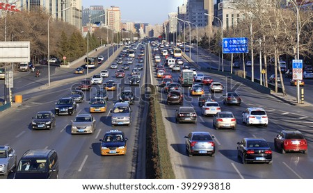 BEIJING, CHINA - MARCH 13, 2016: Traffic jam at third ring road in downtown city. - stock photo