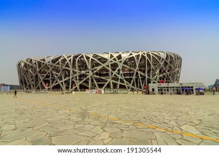 BEIJING,CHINA-MAY 22,2013: Sight seeing along the day at National Stadium - stock photo
