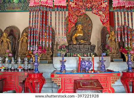 BEIJING, CHINA NOVEMBER 13, 2008: imperial park temple interior. The place is visited by thousands  of people every year. - stock photo