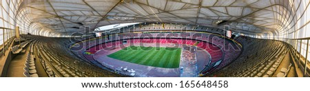 BEIJING, CHINA - OCT 10: Inside of the Beijing National Stadium, also known as the Bird's Nest on Oct 10, 2013 in Beijing. This Olympic venue is regarded as one of the Beijing's Top 10 attractions.  - stock photo