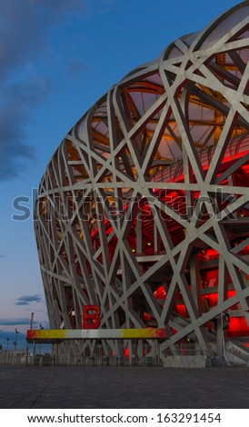 BEIJING, CHINA - OCT 10: The Beijing National Stadium, also known as the Bird's Nest on Oct 10, 2013 in Beijing. This Olympic venue is regarded as one of the Beijing's Top 10 tourist attractions.