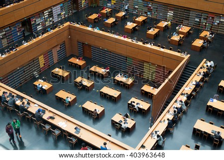 Beijing, China - October 25, 2015:  Wide angle view of the main reading room of The National Library of China. - stock photo