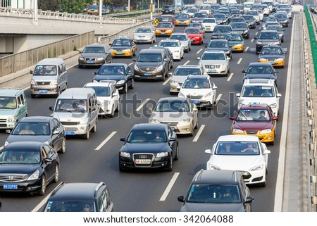 Beijing, China - on September 20, 2015: the urban road traffic jams during the rush hour due to the rising number of vehicles in Beijing, Beijing traffic congestion is more and more serious.
