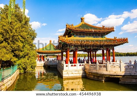 BEIJING/CHINA-SEP11: Five-Dragon Pavilions of Beihai Park on Sep11,2015 in Beijing, China. Beihai Park located in Beijing of China. It has a history of 1000 years. It was royal garden. - stock photo