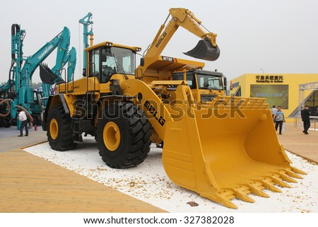 Beijing, China, Sept 22, 2015: New loader SDLG F series at BICES 2015, Beijing - stock photo