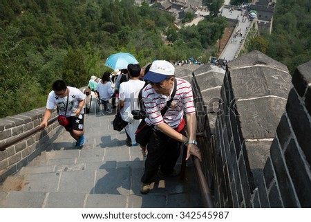 BEIJING - CIRCA JUNE, 2015: Tourists going up and down the steps of the Great Wall of China. Great Wall of China It passes through China, is the longest man-made structure in the world.