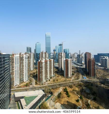 Beijing city overlooking - stock photo