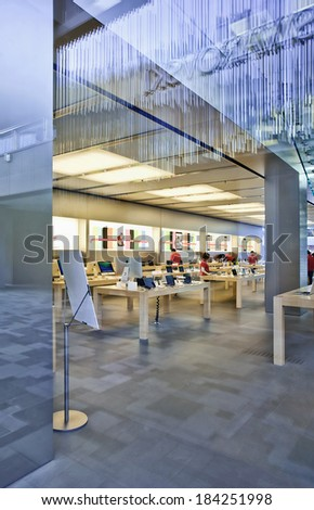BEIJING-DECEMBER 29, 2013. Apple flag-store Beijing. After six years negotiations, Apple has a lucrative deal with China Mobile, China'??s largest wireless carrier, to sell its iPhone device in China. - stock photo