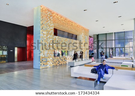 BEIJING-JAN. 25. 29. Hotel Lobby The Opposite House. Flagship hotel of Swire group, interiors designed by Japanese architect Kengo Kuma. Center of the new Beijing aesthetic. Beijing, Jan. 25, 2014.  - stock photo