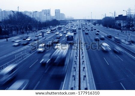 BEIJING - JANUARY 17: Traffic on the highway on January 17, 2014, Beijing, China.