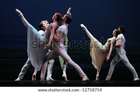 BEIJING-MAY 8: The Czech National Theater ballet troupe performs on stage at Mei Lanfang Theatre on May 8, 2010 in Beijing, China. This event is part of the Czech Culture Festival in China. - stock photo