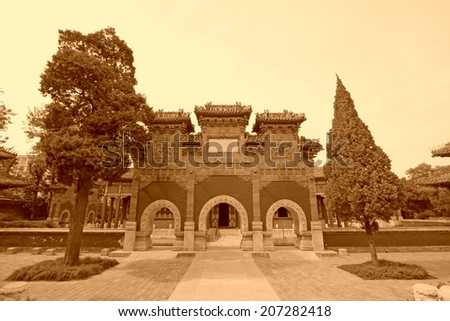 BEIJING - MAY 23: traditional Chinese architectural style arch in the Beihai Park, on may 23, 2014, Beijing, China