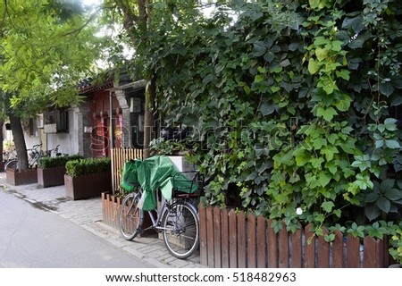 Beijing old residential area. The local street, old house with the red door, trees and bikes leaning on the red wooden fence.
