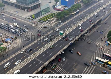 Beijing road traffic  - stock photo