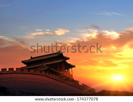 Beijing's Chinese ancient architecture, ancient religious sites - stock photo