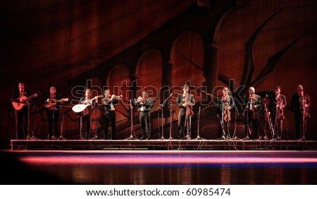 BEIJING-SEP 14: Artists from Amalia Hernandez' Folkloric Ballet of Mexico perform on stage at the Beijing Exhibition Theater on Sep 14, 2010 in Beijing, China - stock photo