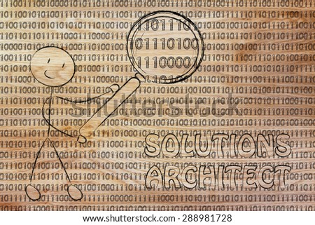 being a software analyst: man checking binary code with a magnifying glass