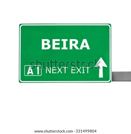 BEIRA road sign isolated on white
