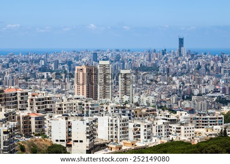 Beirut cityscape, Lebanon. Apartment buildings and city blocks in Beirut - capital of Lebanon.