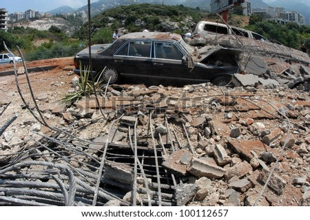 BEIRUT, LEBANON-AUGUST 4: A bridge damaged by Israeli bombings in 2006, overlooking a highway south of Beirut on August 4, 2006, Beirut,Lebanon.