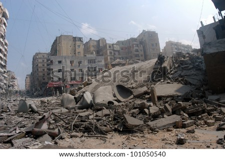 BEIRUT, LEBANON - JULY 20 : Buildings destroyed by Israeli bombing in the city of Beirut on July 20, 2006, Beirut,Lebanon. - stock photo