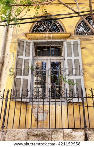 Beirut's old architectural details - shuttered window with arch above