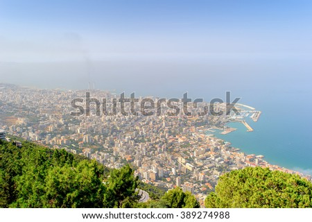 Beirut, the capital and largest city of Lebanon. Mediterrenean sea coast - stock photo