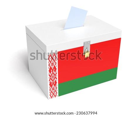 Belarus ballot box with Belarus Flag. Isolated on white background. - stock photo
