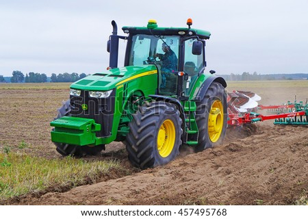 Belarus, Bobruisk district, September 9: Competitions ploughmen. One of the participants of the contest., September 9, 2015 in Bobruisk district, Belarus.