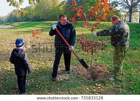 Belarus, Bobruisk district, the village Clear Forest, 17 October 2015: Two men planted young trees near the highway passing.