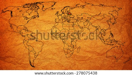 belarus flag on old vintage world map with national borders - stock photo