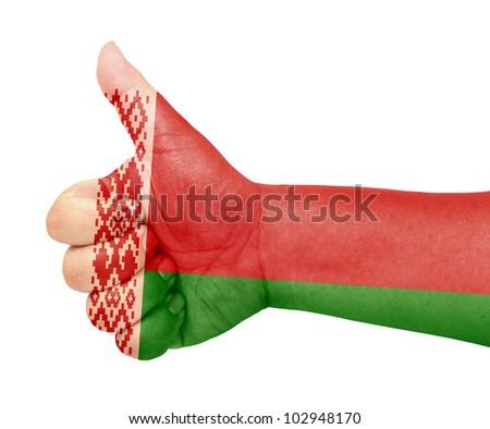 Belarus flag on thumb up gesture like icon - stock photo