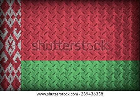 Belarus flag pattern on the diamond metal plate texture ,vintage style - stock photo