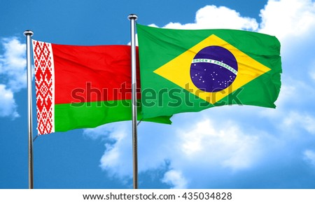 Belarus flag with Brazil flag, 3D rendering