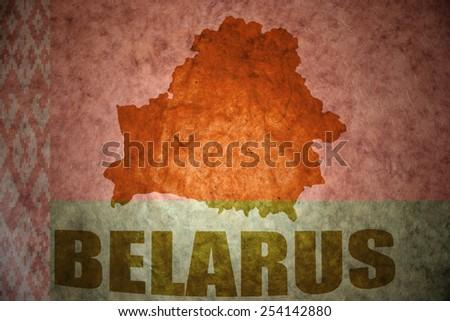 belarus map on a vintage flag background - stock photo