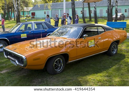 "Belarus, Minsk, may, 07.2016: International festival of retro cars ""Retrominsk"" in Minsk. Exhibition of retrocars in the museum of aircraft, Dodge Charger  1969."