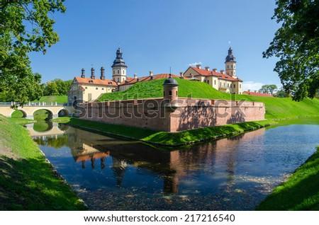 Belarus, Minsk region, a beautiful view of the castle Nesvizhsky - stock photo