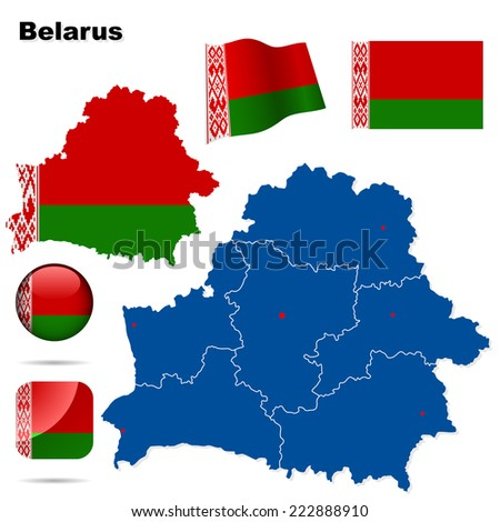 Belarus set. Detailed country shape with region borders, flags and icons isolated on white background. - stock photo