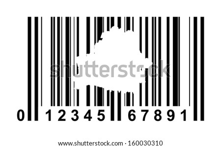 Belarus shopping bar code isolated on white background.