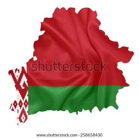 Belarus - Waving national flag on map contour with silk texture - stock photo