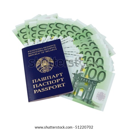 Belarusian passport and one hundred euro banknotes over white