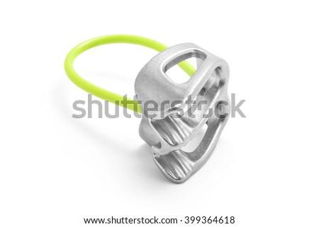 Belay atc rappel device isolated - stock photo