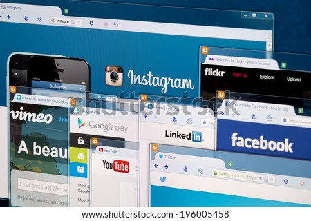 BELCHATOW, POLAND - APRIL 11, 2014: Photo of social network homepage on a monitor screen. - stock photo