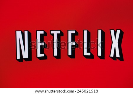 BELCHATOW, POLAND - January 06, 2015: Photo of the Netflix logo on a monitor screen. - stock photo