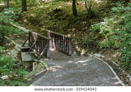 Belchin, Bulgaria - June 23, 2015: Series: Visit of Prevails Mali town in Belchin village area. Small bridge by Eco Trail to Prevails Mali town